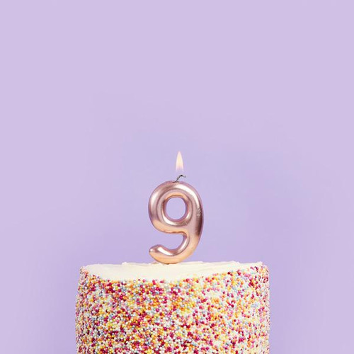 Rose Gold 9 Number Candle for Birthday Cakes and Anniversaries