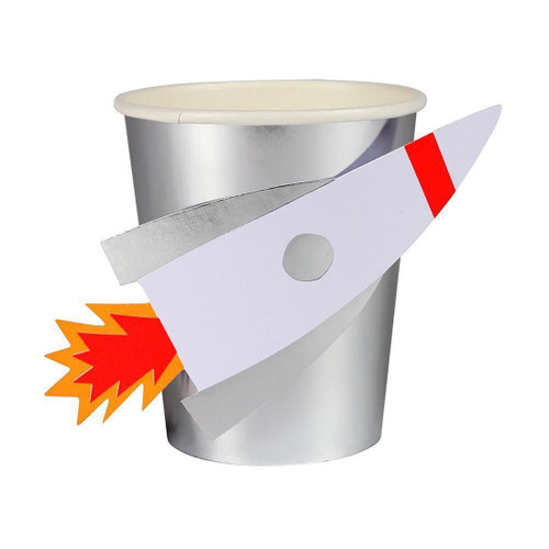 Rocket Ship Space Paper Cups Party Decoration for Alien and Space Themed Birthdays