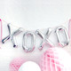 Silver XOXO love letter balloons for hen parties, weddings and baby showers