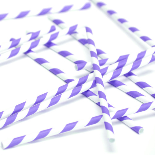 Purple Stripe Paper Party Straws