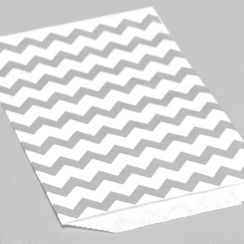Grey Chevron Print Paper Party Bags