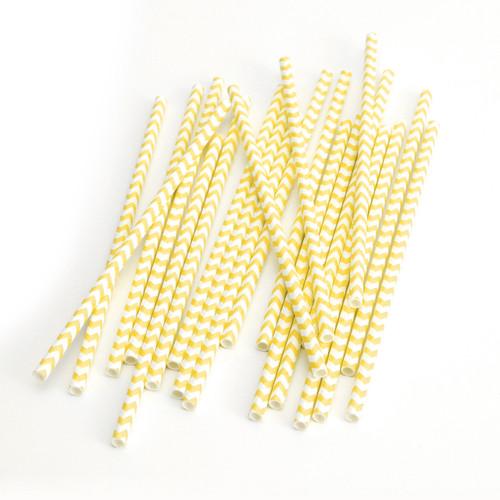 Yellow Chevron Print Paper Party Straws