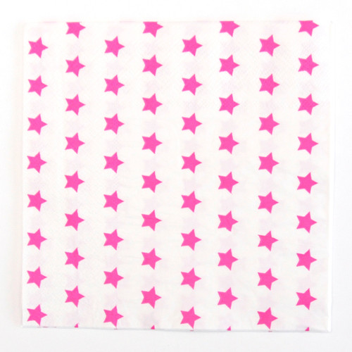 Pink Star Stripe Paper Party Napkins