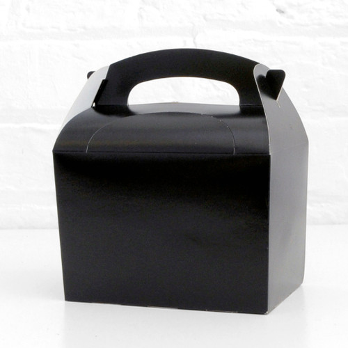 Black food treat box for birthday party snacks, picnics, goodie bags, gifts and street food.