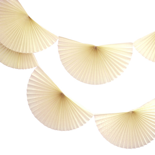 Ivory Paper Fan Garland Bunting Decoration for Birthday Parties, Weddings, Baby Showers and Hen Dos