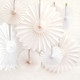 White and Ivory Deluxe Tissue Paper Fan Decorations for Birthday Parties, Weddings, Baby Showers and Hen Dos