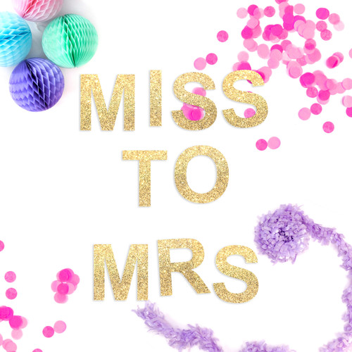 Miss to Mrs Hen Party Glitter Garland Decoration