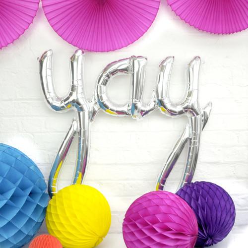 Metallic Silver Yay Text Balloon Slogan