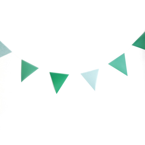 Green paper party bunting for birthdays, weddings and garden parties