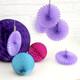 Purple Party Paper Fan Set Decorations