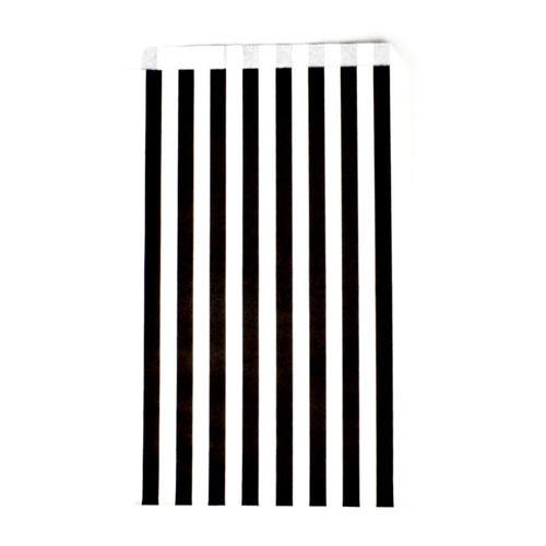 Black striped paper party bags for Halloween and Gatsby 1920s themed celebrations
