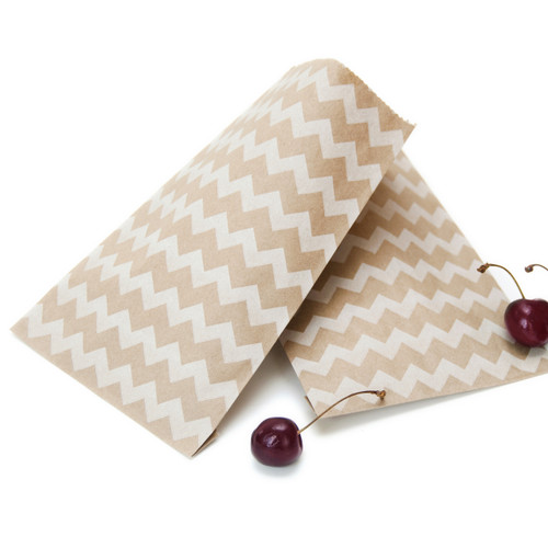 Chevron Kraft Brown Paper Bags for wedding favours, birthday party gifts and craft projects