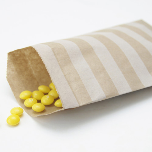 Stripe Kraft Brown Paper Bags for wedding favours, birthday party gifts and craft projects