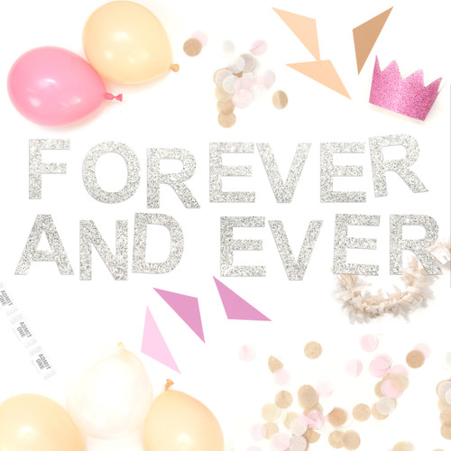 Forever and ever metallic glitter garland available in gold or silver for weddings, dessert tables or birthday parties