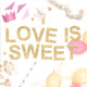 Love Is Sweet metallic glitter garland available in gold or silver for weddings, dessert tables or birthday parties