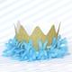 Blue fringe on a glitter crown