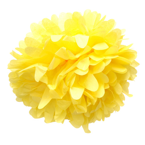 Yellow tissue paper pom pom decoration for birthday parties, weddings, hen dos and baby showers