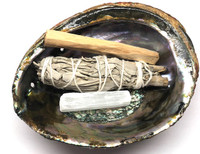 Abalone Shell, Palo Santo, Selenite, White Sage - Smudge Kit