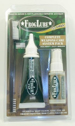 "Froglube Complete Weapons Care System Clampack  The FrogLube Clamshell is here! A perfect start up kit to new FrogLube users. Contents: 1 oz FrogLube Solvent, 1.5 oz FrogLube CLP Squeeze Tube, and brush.  Great for go bag or gun case!  FROGLUBE® is a cutting edge biodegradable lubricant made from ""USDA Certified Food-Grade"". All ingredients are produced in the USA using a proprietary formula. It is a non-toxic substance that dissolves carbon on contact. It has a heavy specific gravity, which enables it to 'season' the metal by absorption deep into the pores. Using FROGLUBE® results in a durable dry slick wax-like surface that reduces friction, eliminates fouling, and destroys rust. FROGLUBE® is safe for plastic, urethane, nylon, and wood. FROGLUBE®will give your weapon many extended years of service.  FROGLUBE® will not harm the environment. It can be disposed of without the need for prohibitive HAZMAT controls. Employees will be protected from the affects of working in and around toxic chemicals.  FROGLUBE® IS A BIODEGRADABLE LUBRICANT, CLEANER AND PROTECTANT.  CONTAINS NO PETROLEUM OR WATER. NON-HAZARDOUS IN EVERY WAY. PLEASANT MINT SMELL"