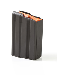 ASC AR-15 10 Round Magazine in Black Marlube Coated Stainless Steel Body With Orange Anti-Tilt Follower