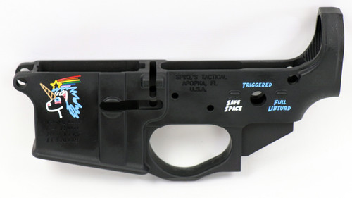SPIKE'S TACTICAL STRIPPED LOWER RECEIVER WITH COLOR FILLED SNOWFLAKE LOGO