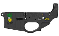 SPIKE'S TACTICAL STRIPPED LOWER RECEIVER WITH COLOR FILLED PINEAPPLE GRENADE LOGO