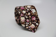 Brown Floral Necktie