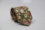 Olive Floral Necktie