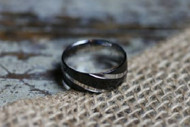 HB Apparel Stainless Steel and Black Ring (size 10)