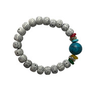 White Bead and Turquoise Bracelet