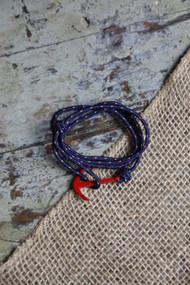 Blue Rope Red Anchor Bracelet