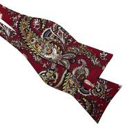 Red Paisley Tweed Bow Tie