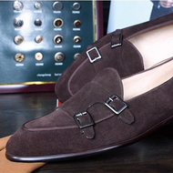 Chocolate Suede Monk Loafer