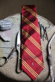 Burgundy Gold Stripe Necktie
