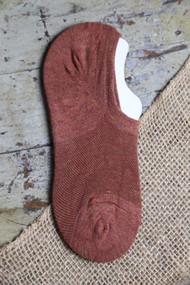Brown Amber No Show  Socks