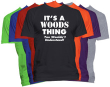 WOODS Name T-Shirt Personalized Custom Surname Last Name Tee