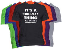 WORKMAN Name T-Shirt Personalized Custom Surname Last Name Tee