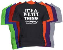 WYATT Name T-Shirt Personalized Custom Surname Last Name Tee