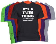 YATES Name T-Shirt Personalized Custom Surname Last Name Tee