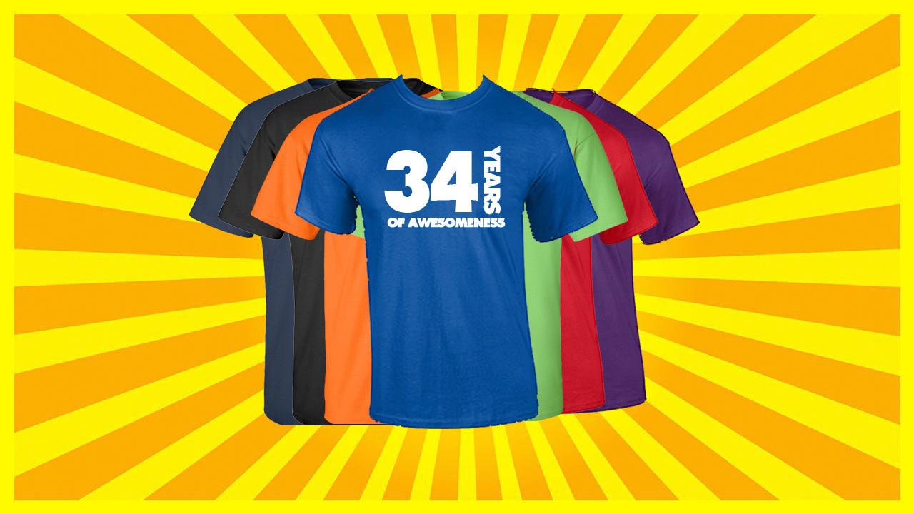 34th Birthday T Shirt Years Of Awesomeness Custom