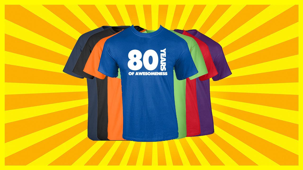 80th Birthday T Shirt Years Of Awesomeness Custom