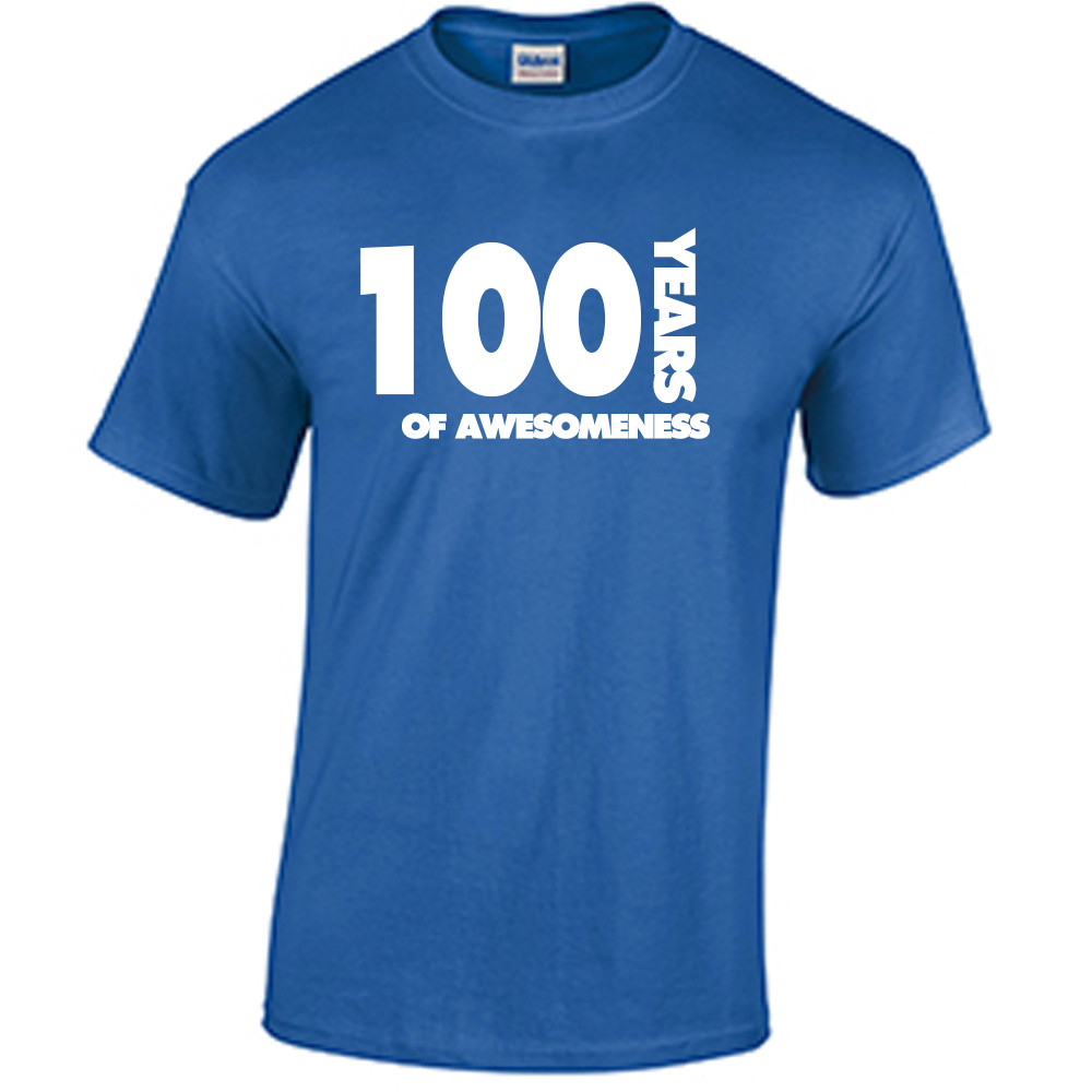 100th Birthday T Shirt Years Of Awesomeness Custom
