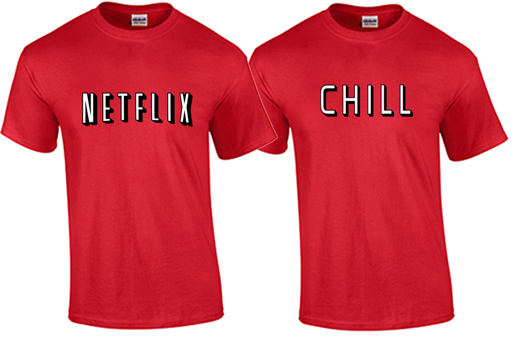 033a6f743 Netflix and Chill Couples Costume T Shirts - Fat Duck Tees