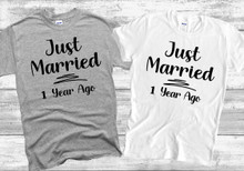 Just Married 1 Year Ago Wedding Anniversary T Shirt - 1st Wedding Anniversary Matching Couples T-Shirt