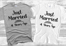 Just Married 4 Years Ago Wedding Anniversary T Shirt - 4th Wedding Anniversary Matching Couples T-Shirt
