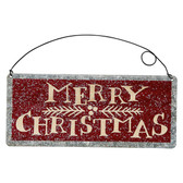 Merry Christmas Hanging Tin Sign Ornament