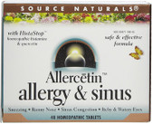 Allercetin Allergy Sinus 48 Tabs, Source Naturals