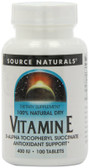 Vitamin E Succinate 400 IU 100 Tabs Source Naturals, Antioxidant