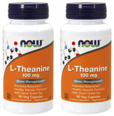 2-Pack Of L-Theanine 100 mg 90 Veggie Caps, Now Foods, Stress Relaxation