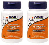 2-Pack Of L-Theanine 200 mg 60 Vcaps, Now Foods, Cardiovascular Stress